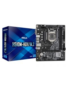 Mainboard|ASROCK|Intel H510|LGA1200|1xPCI-Express 3.0 1x|1xPCI-Express 4.0 16x|1xM.2|Memory DDR4|Memory slots 2|1x15pin D-sub|1x