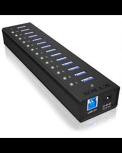 Raidsonic 13-port hub with USB Type-A interface and 1x charging port IB-AC6113 Black