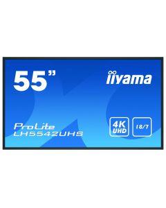 "iiyama LH5542UHS-B3 infoekraan Digital signage lameekraan 138,7 cm (54.6"") IPS 4K Ultra HD Must Sisseehitatud protsessor Android 8.0"